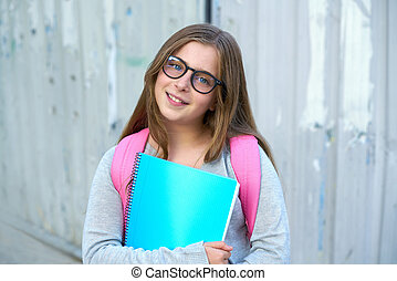 Blond kid student girl back to school
