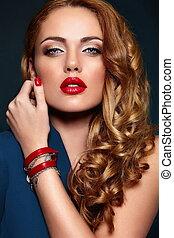blond, kobieta, szykowny, kaukaski, makijaż, fason, przepych, czysty, młody, closeup, piękny, usteczka, portret, barwny, look., skóra, doskonały, wysoki, sexy, wzór, przybory, czerwony, jasny