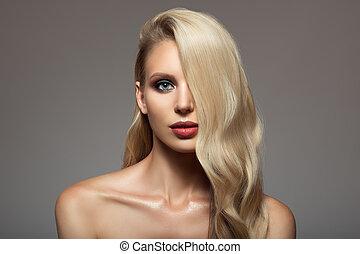 blond, kobieta, z, długi, piękny, hair.