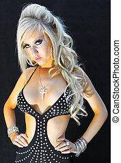 Blond Lady In A Black Dress