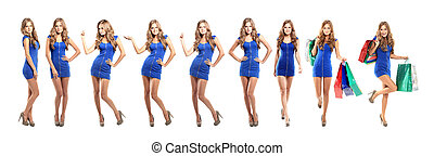 blond lady in blue dress isolated on white