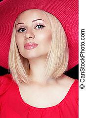 blond, lippen, aufmachung, sinnlich, schöne , hut, frisur, frau, rotes , tragen