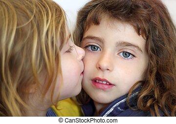 blond little girl kissing her daughter blue eyes