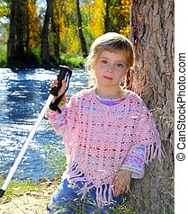 blond little girl outdoor park excursion cane autumn