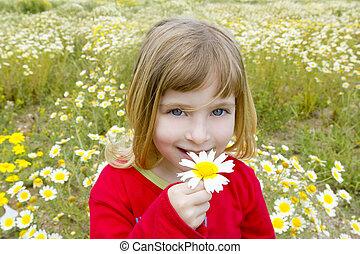 blond little girl smelling daisy spring flower meadow