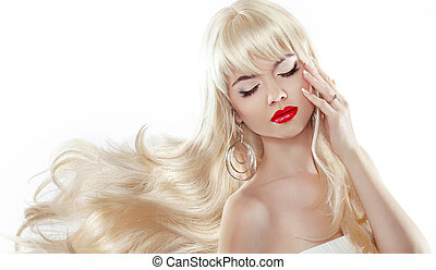 Blond long hair. Sensual woman with red lips. Professional makeu