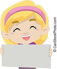 blond, m�dchen, besitz, a, leer, brett