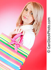 blond, m�dchen, mit, einkaufstüte