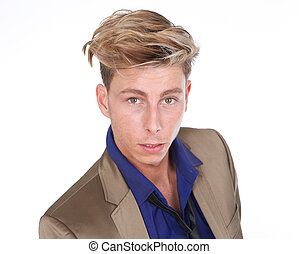 Blond male fashion model