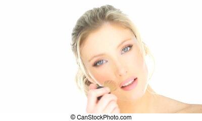 blond, maquillage, demande, elle, femme