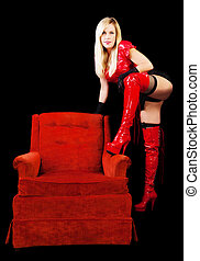 Blond Middle-aged Caucasian Woman Standing Red Boots