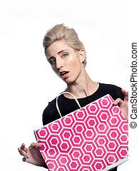 blond, mit, einkaufstüte