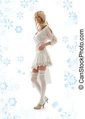 blond, mit, einkaufstüte, und, schneeflocken