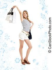blond, mit, einkaufstüten, und, snowflakes#2