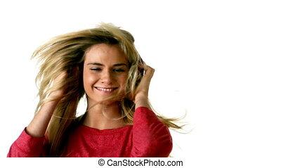 blond, musique, joli, écoute