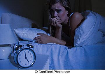 blond, noc, unquiet, łóżko, kobieta