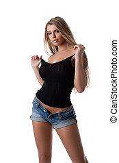 blond, oberseite, schwarz, tank, frau, jeans, sexy