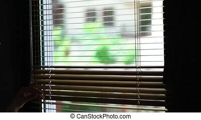 Blond office worker in white shirt peering through window blinds