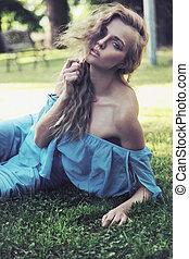 blond, ogród, piękno, dama