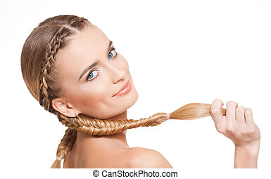 blond, piękno, z, zdrowy, hair.