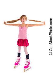 blond pigtails roller skate girl full length on white