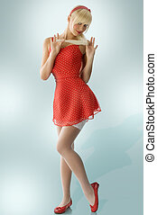 blond pinup in red