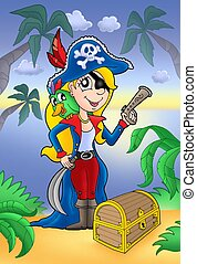 Blond pirate women with treasure chest