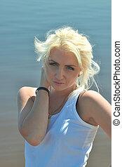 blond, plage, girl