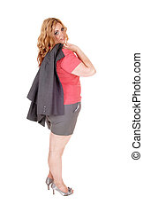 Blond plus size woman in shorts.