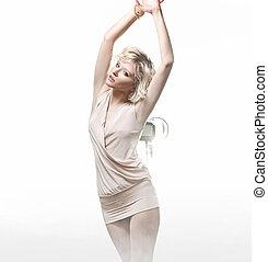 blond, pose, fond, girl, blanc, sensuelles