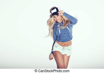 blond, posierend, sinnlich, schoenheit