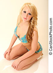 blond, prächtig, modell, badeanzug
