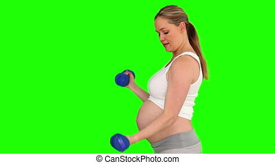 Blond pregnant female doing exercise with dumbbells