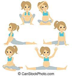 blond, pregnant, yoga, femme, poses