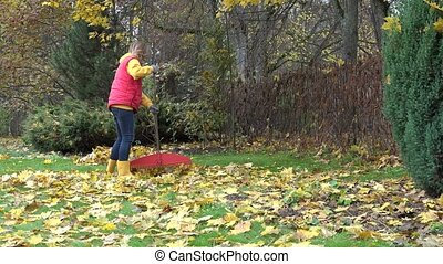 blond pretty country girl using rake to clean up of fallen leaves in garden. 4K