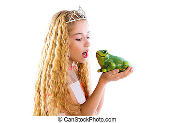 blond princess girl kissing a frog green toad like a story tale on white