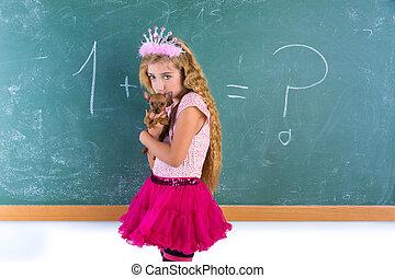blond, prinsessa, skolflicka, husdjuret, chihuahua, valp