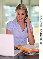 Blond receptionist