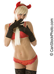 blond red demon - sexy blond girl in red bikini and horns...