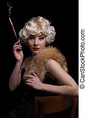 Blond retro-styled woman with cigarette