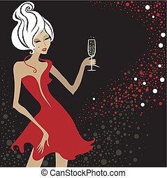blond, rocznik wina, kobieta