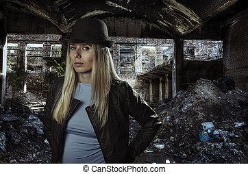 blond, ruinen, junger