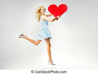 blond, söt, dam, spring, med, hjärta