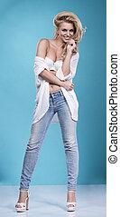 blond, schoenheit, tragen, sexy damenunterwäsche, und, jeans