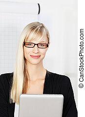Blond secretary with glasses