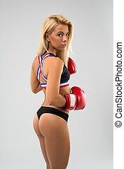 blond, sexy, vue arrière, gants, boxe