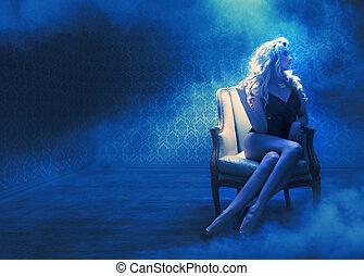 blond, sinnlich, dame, in, a, mysteriös, ort