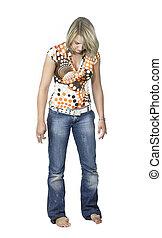 blond slackening girl in white back