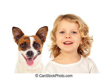 Blond small child with his dog
