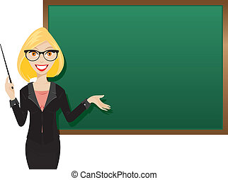 Blond teacher - Illustration of blonde teacher presentation...